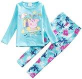 LEMONBABY Little Girls' Cotton Sleepwear Kid Pajamas Tee & Pants Sets (2Y, )