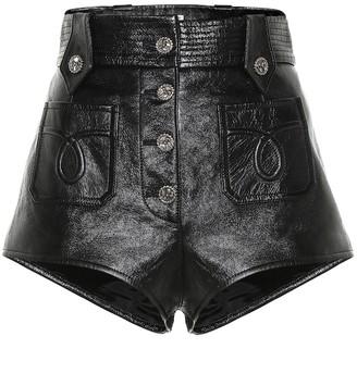 Miu Miu High-rise leather shorts