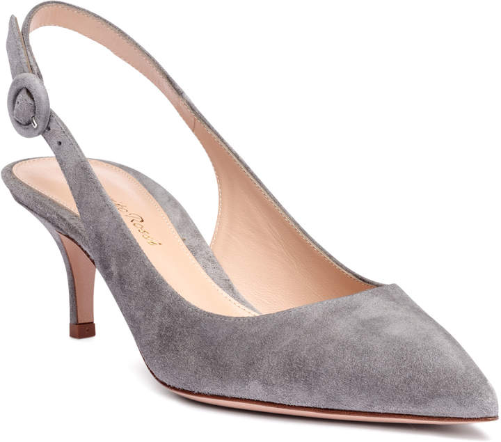 Gianvito Rossi Anna 55 grey suede sling-back pumps