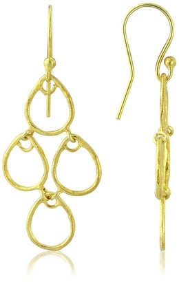 Auree Jewellery Palermo Brushed Yellow Gold Art Deco Earrings