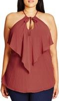 City Chic Plus Size Women's Tie V-Neck Flutter Top