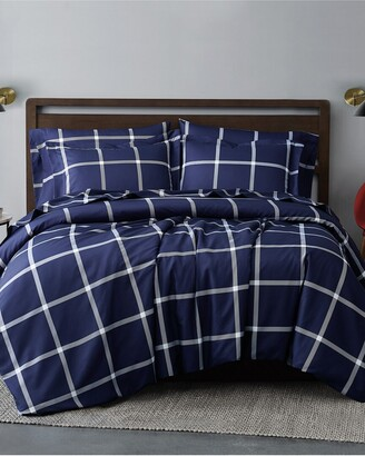 Truly Soft Printed Windowpane Navy White 3Pc Duvet Cover Set
