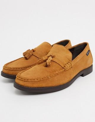 Ben Sherman suede tassel loafers in tan