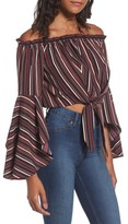 Band of Gypsies Women's Stripe Off The Shoulder Crop Top