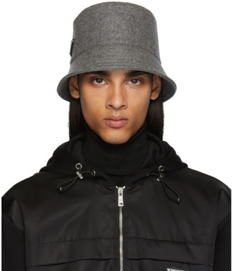 Prada Grey Triangle Logo Bucket Hat