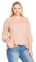 Blu Pepper Women's Plus Size Long Sleeve Top with Lace and Crochet Details