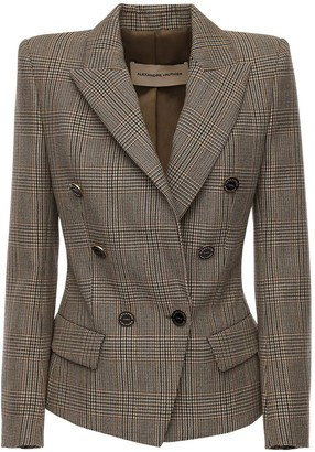 Alexandre Vauthier Fitted Wool Prince Of Wales Blazer