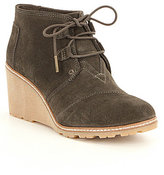Toms Desert Wedge Suede Lace-Up Booties