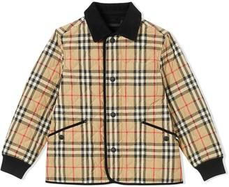 Burberry Vintage check corduroy-trimmed jacket