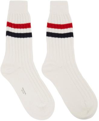 Thom Browne Online Exclusive White Cashmere RWB Stripe Socks