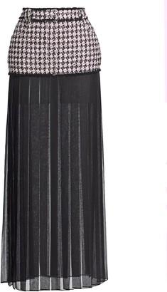 Balmain Chiffon-Trimmed Tweed Maxi Skirt