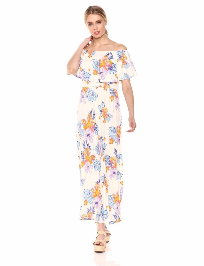 Tropical Hawaiian Print Off Shoulder Maxi Dress dresses Donna Marchio 28 Palms