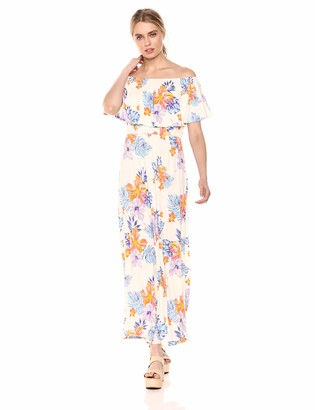 28 Palms Tropical Hawaiian Print Off Shoulder Maxi Dress Casual White Floral