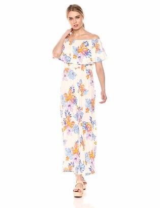 28 Palms Women's Tropical Hawaiian Print Off Shoulder Maxi Dress