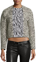 Proenza Schouler Double-Breasted Cropped Jacket, Black/Ecru Marble