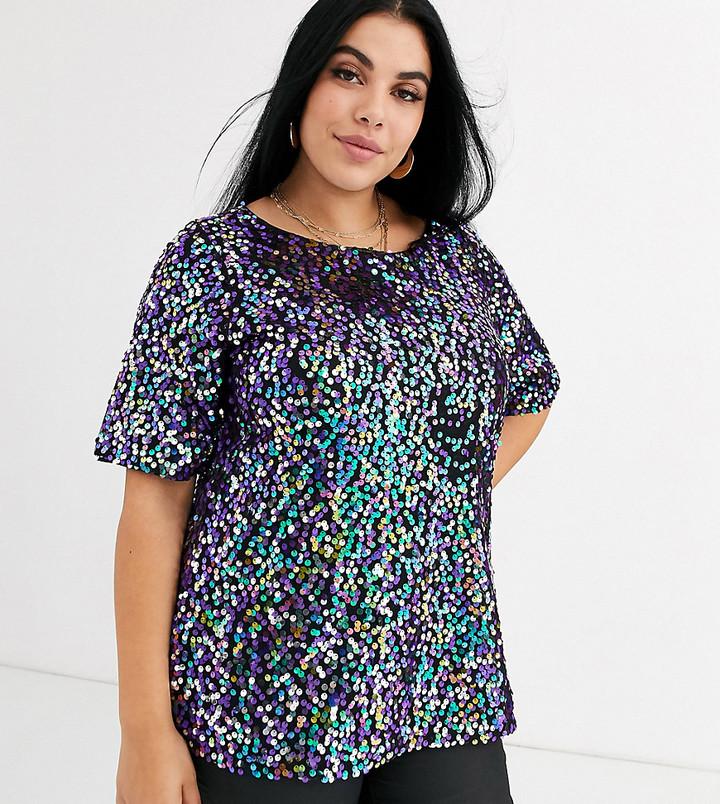 Junarose sequin t-shirt-Purple