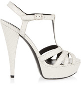Saint Laurent Jodie Snake-effect Leather Sandals - White