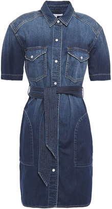 Current/Elliott The Flint Belted Denim Mini Shirt Dress