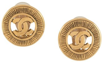 Chanel Pre Owned 1990s CC button earrings