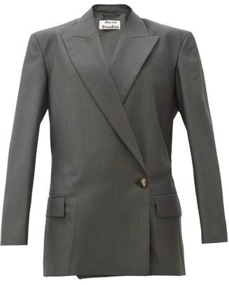 Acne Studios Jess Single Button Wool Blend Blazer - Womens - Dark Green