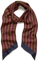 Mulberry College Stripe Scarf Burgundy Silk Twill