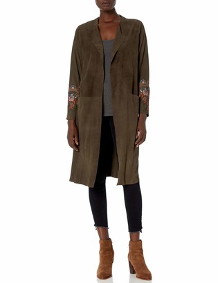 Johnny Was 3J Workshop Women's Suede Coat with Embroidery