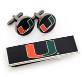Ice U of Miami Hurricanes Cufflinks and Money Clip Gift Set
