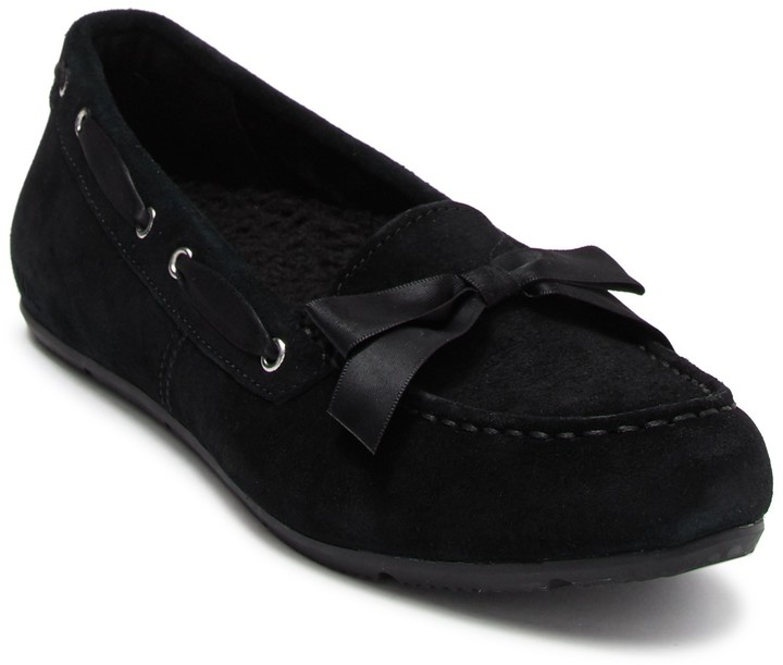 Vionic Alice Suede Faux Fur Lined Moccasin Slipper