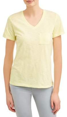 Time and Tru Women's Short-sleeve V-neck Slub Tee