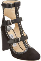 Jimmy Choo Hensley 100 Stud Embellished Suede & Vachetta Leather Bootie