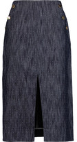 Tanya Taylor Ines Embroidered Denim Midi Skirt