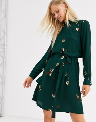 Only floral print tie waist dress-Green