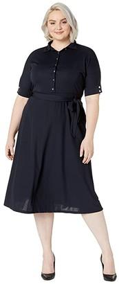 Lauren Ralph Lauren Plus Size Belted Jersey Shirtdress (Lauren Navy) Women's Clothing
