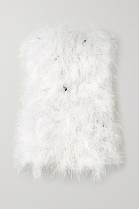 Michael Lo Sordo Strapless Feather-embellished Satin Mini Dress - White