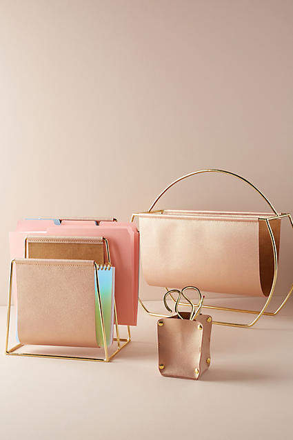 Anthropologie Saddle Ring Desk Collection By in Pink Size L