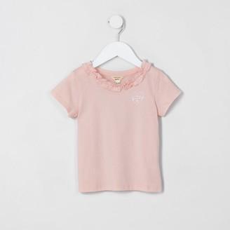 River Island Mini girls pink ruffle tee