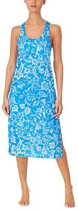 Lauren Ralph Lauren Slub Jersey Knit Sleeveless Twisted Back Ballet Gown with Soft Bra (Blue Floral) Women's Pajama