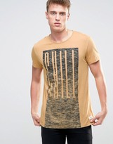 Esprit T-Shirt with Chill Print and Raw Hems