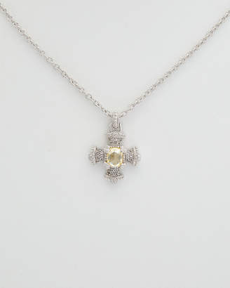 Judith Ripka Silver White Topaz & Cz Necklace