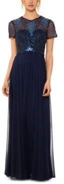 Betsy & Adam Embellished-Bodice Gown