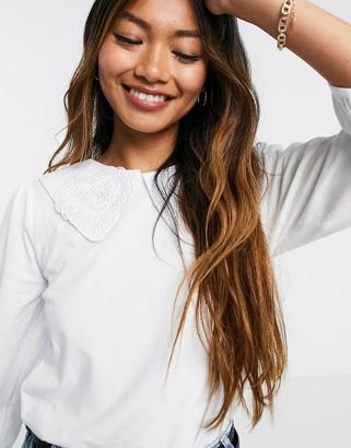 Vila collar detail t-shirt in white