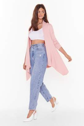Nasty Gal Womens Thought About Knit Ribbed Longline Cardigan - Pink - S/M