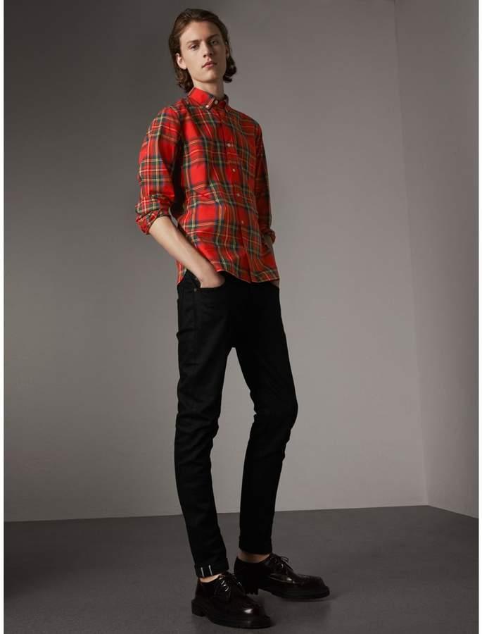 Burberry Skinny Fit Brushed Stretch Denim Jeans , Size: 30R, Black