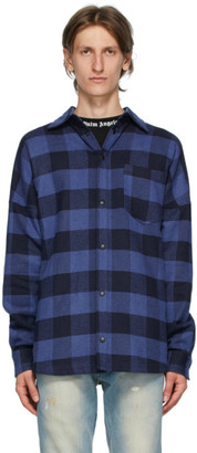 Palm Angels Black and Blue Checked Overshirt Shirt