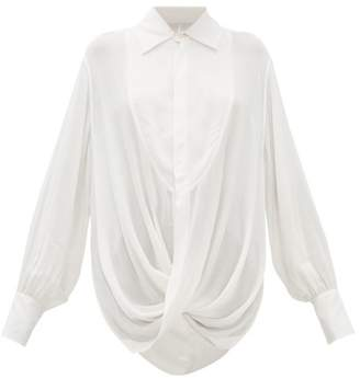 Ann Demeulemeester Ewing Draped Open-back Poplin Blouse - Womens - Cream