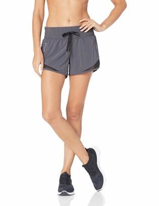 "Core 10 Amazon Brand Women's Standard Wide Waistband Woven Run Short with Brief Liner - 3.5"""