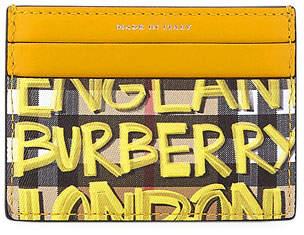 Burberry Graffiti Check Leather Card Case