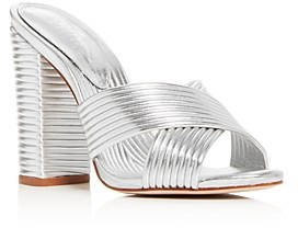 Schutz Women's Emma Dale Criss-Cross Quilted Slide Sandals