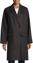 Brunello Cucinelli Long Cashmere-Wool Coat, Gray/Brown