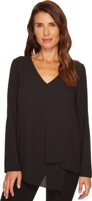 Karen Kane Women's Black Long Sleeve Draped Angle Top M